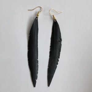 Boho feather earrings made from bike tubes